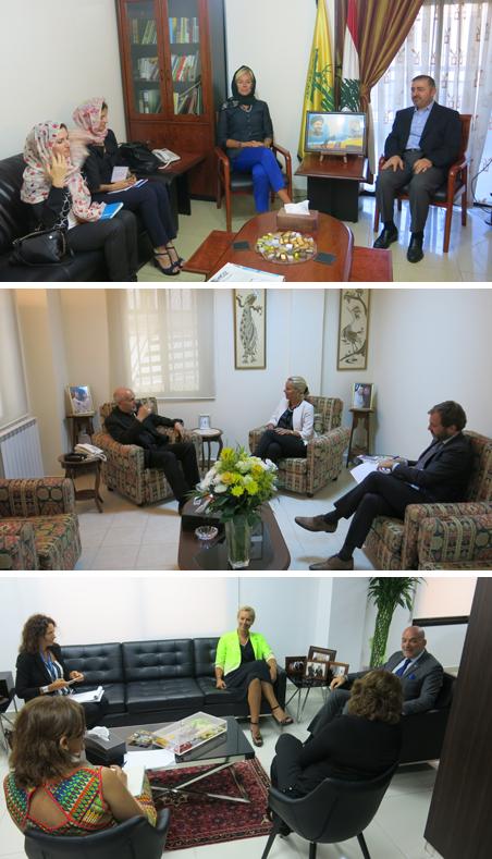 In een week tijd ontmoet Sigrid Kaag het hoofd Veiligheid van Hezbollah, Wafik Safa (boven), de ambassadeur van het Vaticaan, aartsbisschop Gabriele Caccia (midden), en de minister van Economische Zaken Alain Hakim (onder). Foto's: Maite Vermeulen