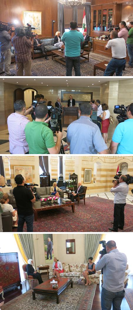 In een week tijd ontmoet Sigrid Kaag de voorzitter van het parlement Nabih Berri (boven), premier Tammam Salam (derde foto), en parlementslid Bahia Hariri (onder). Foto's: Maite Vermeulen