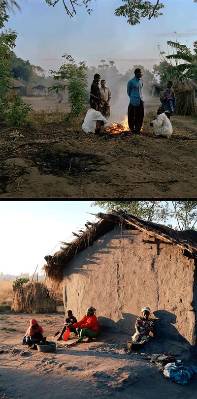 Foto boven: Mannen uit het dorp bij een vuurtje dat warmte biedt tegen de kou in de vroege ochtend. Foto onder: Twee vrouwen en twee meisjes doen 's morgens de was. Dickisoni, 2005. Foto's: Jan Banning