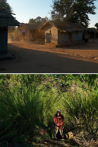 Foto onder: Man met een gieter in de Dambo, de geïrrigeerde tuin van het dorp. Dickisoni, 2015. Foto's: Jan Banning