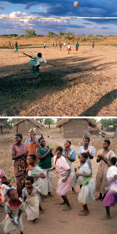 Foto boven: Voetballende kinderen. Foto onder: De vrouwen uit het dorp dansen en zingen samen. Dickisoni, 2005. Foto's: Jan Banning