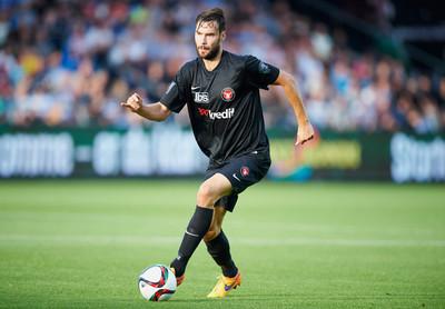 Tim Sparv die speelt voor FC Midtjylland, tijdens een wedstrijd tegen AaB Aalborg. Augustus, 2015. Foto: Jan Christensen/Getty Images