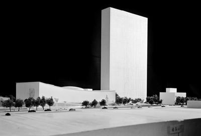 De maquette van de drie gebouwen die de Verenigde Naties laten bouwen in New York. Foto: United Nations Photo