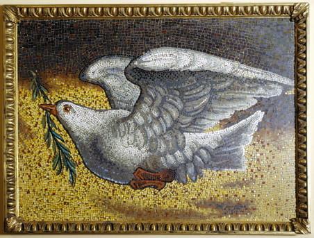 Kunstwerk geschonken door paus Johannes Paulus II in 1979. Foto: United Nations Photo