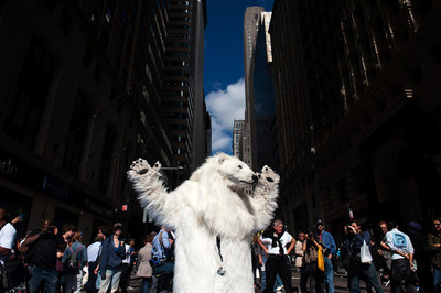 Demonstranten tijdens de Flood Wall Street protesten, 2014. Foto: ANP
