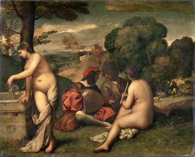 Manet liet zich o.a. inspireren door vroege meesterwerken van Raimondi, gebaseerd op de schets van Raphael (Boven: 'Urteil des Paris', circa 1515) en Giorgione, vermoedelijk uitgevoerd door leerling Titiaan (Onder: 'Le Concert champêtre', circa 1515)