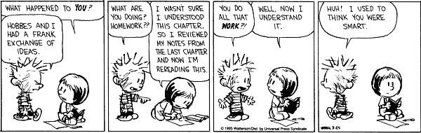Bill Watterson, de tekenaar van Calvin and Hobbes (over wie straks meer), legde dat zo uit.
