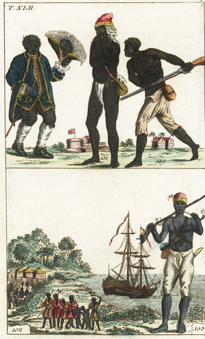Prent over slavernij in Suriname uit 'G. T. Wilhelm's Encyclopedia of Natural History: Mankind Augsburg', 1804. Foto: Getty Images