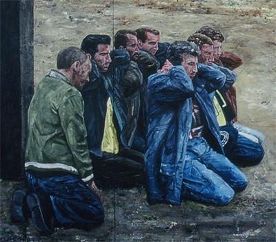 Detail uit het schilderij 'Srebrenica I' (2006), © Ronald Ophuis / Upstream Gallery