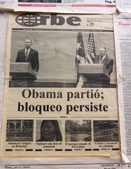 Voorpagina van een Cubaanse krant over het bezoek van Obama