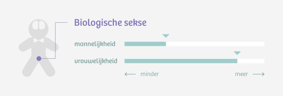 De twee schalen van biologische sekse. Een persoon die grotendeels vrouwelijke lichamelijke kenmerken heeft, maar óók mannelijke, heeft een intersekselichaam.
