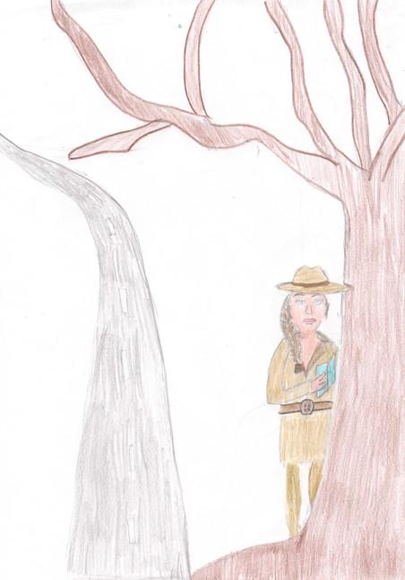 Hannah verschuilt zich in haar toekomstbeeld achter een boom, ze wil graag detective worden. Illustratie: Hannah