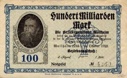 Wilhelm Röntgen op een biljet van honderd miljard mark. Foto: Wikimedia Commons