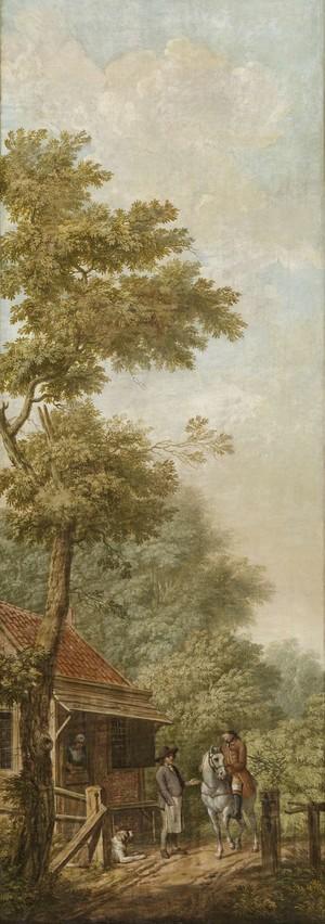 Behangselschildering van een Hollands landschap met een scène bij een tolhek door Jurriaan Andriessen in 1776. Reproductie: Rijksmuseum
