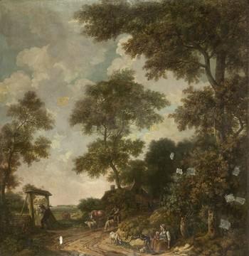 Behangselschildering van een Hollands landschap met een zandweg, enkele figuren, een boerderij en rechts een begroeide heuvel door Jurriaan Andriessen in 1776. Reproductie: Rijksmuseum