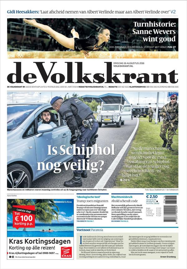 De voorpagina van De Volkskrant van dinsdag 16 augustus 2016
