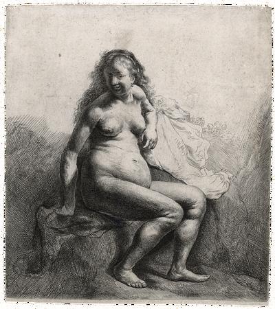 Rembrandts 'Naakte vrouw zittend op een verhoging,' ets, omstreeks 1631, 17,7 x 16 cm. Collectie: Museum Het Rembrandthuis