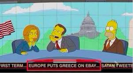 Een nieuwsuitzending in The Simpsons, met onder in beeld de nieuwsticker: 'Europeanen zetten Griekenland te koop op Ebay.'