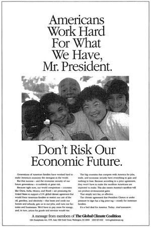 Twee advertenties van The Global Climate Coalition uit 1997