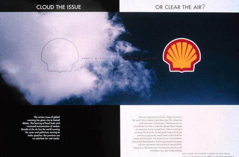 'Is het verbranden van fossiele brandstoffen.. een serieuze bedreiging of een boel hete lucht?' Dat waren de vragen die centraal stonden in deze advertentie uit 2003.