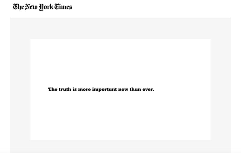 Ook The New York Times heeft nu een reclamecampagne die helemaal draait om waarheid.