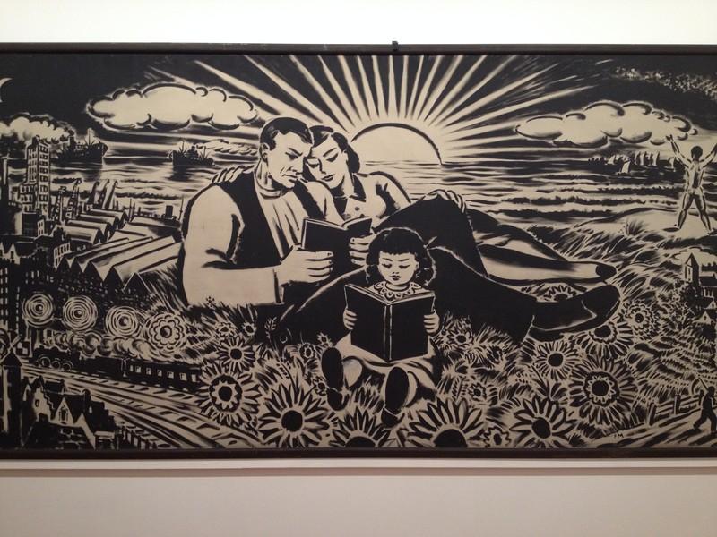'La famille en lecture' (1937) van Fans Masereel