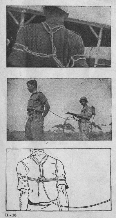 De Atjehknoop. Beeld uit de geïllustreerde handleiding voor Nederlandse soldaten in Indonesië, getiteld 'Kennis van het V.P.T.L. Een kwestie van leven of dood.'