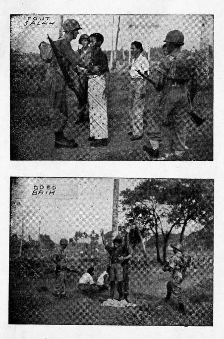 """Op zoek naar wapens en documenten. Onderschrift bij het onderste beeld: """"Is dit niet veel beter? De overtollige kleding eerst af. De andere verdachten wachten rustig hun beurt af, maar natuurlijk met de gebruikelijke bewaking erbij!"""" Beeld uit de geïllustreerde handleiding voor Nederlandse soldaten in Indonesië, getiteld 'Kennis van het V.P.T.L. Een kwestie van leven of dood.'"""