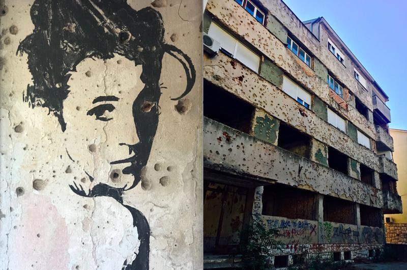 Kapotgeschoten gebouwen aan de oude frontlinie in Mostar. Op de tweede verdieping wonen nog mensen. Foto links: Steven Schoppert. Foto rechts: Freek Herberts