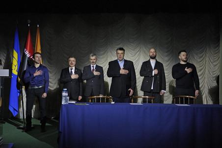 Politieke leiders van het extreemrechtse 'Nationaal Korps' tijdens de oprichting van de politieke partij in oktober 2016. De partij wordt geleid door veteranen van het extreemrechtse vrijwilligersbataljon Azov. Foto: NurPhoto / Getty