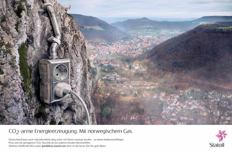 Een Duitse advertentie van Statoil, met daarin de claim dat aardgas zorgt voor 'geringerem CO2-Ausstoß als bei anderen fossilen Brennstoffen'