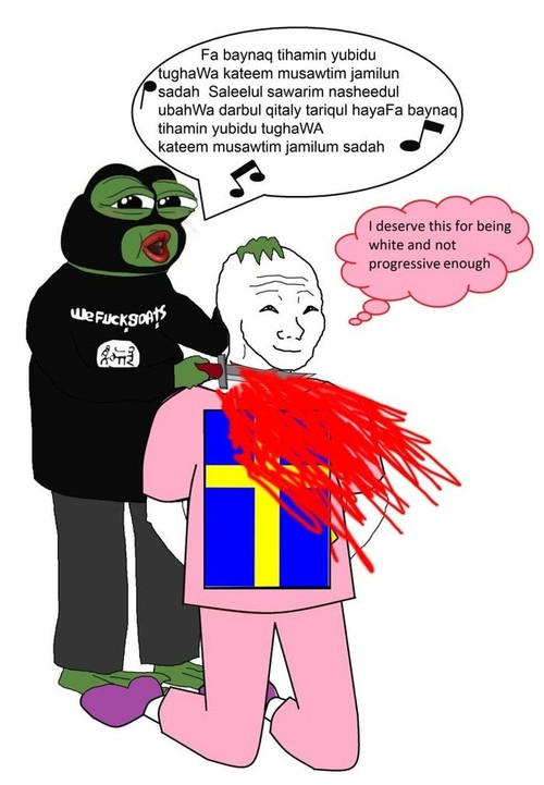 In deze meme is de Zweedse man een cuck, een hoorndrager, omdat hij moslims zijn land binnenlaat en zijn hoofd laat afsnijden – en hij maakt het er zelf naar, omdat hij blank en niet progressief genoeg is.Bron: onbekend