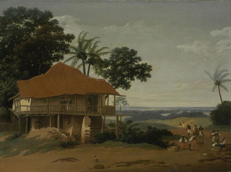 Braziliaans landschap met een arbeidershuis. Frans Post in opdracht van militair Johan Maurits, graaf van Nassau-Siegen, 1650-1675.