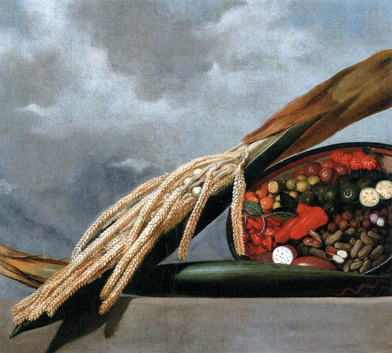Braziliaanse granen, vruchten, groenten en pinda's. Albert Eckhout in opdracht van militair Johan Maurits, graaf van Nassau-Siegen, 17e eeuw.