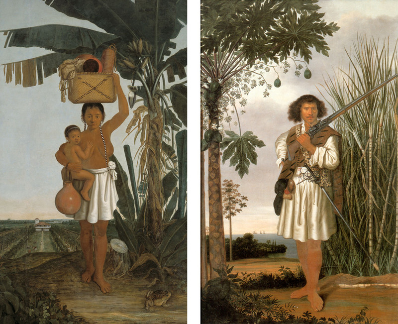 Links: een Tupiaanse vrouw met een plantage op de achtergrond. Rechts: een Mestiço man (een kind van een Europeaan en een inheemse). Albert Eckhout in opdracht van militair Johan Maurits, graaf van Nassau-Siegen, 1641.