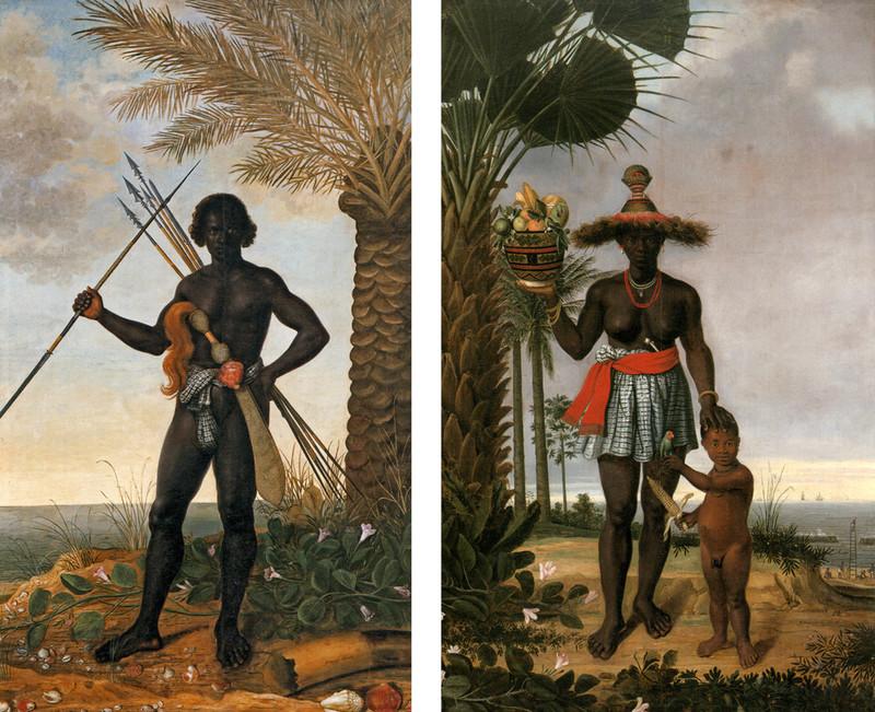 Links: een Afrikaanse man. Rechts: een Afrikaanse vrouw met kind. Albert Eckhout in opdracht van militair Johan Maurits, graaf van Nassau-Siegen, 1641.