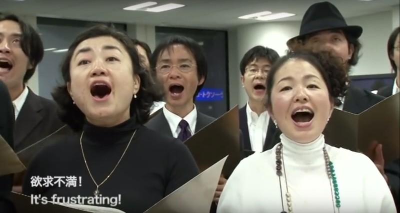 Still uit de videoregistratie van het Complaints Choir of Tokyo.
