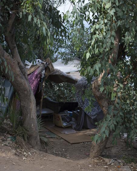 Een zelfgebouwd onderkomen in Ceuta. Foto: Jurgen Huiskes