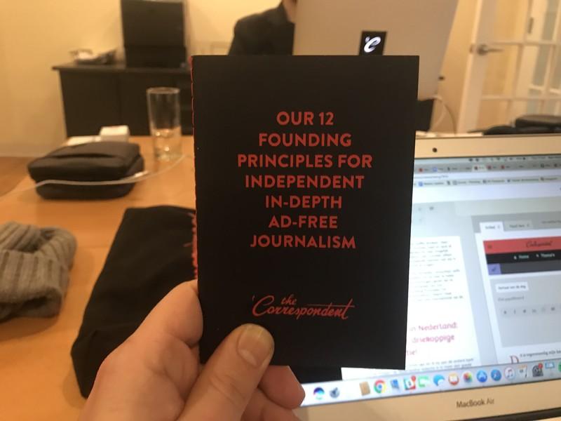 Ons boekje met Founding Princples, waarmee we potentiële correspondenten en ambassadeurs vertellen over onze journalistieke missie