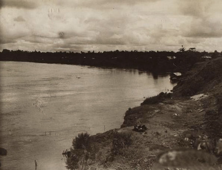 Ontginning van het land in het interneringskamp te Tanah Merah (Boven-Digoel) en de riviermond van de Digoel. Foto's: KITLV