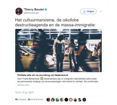 De tweet van Thierry Baudet over omvolking.