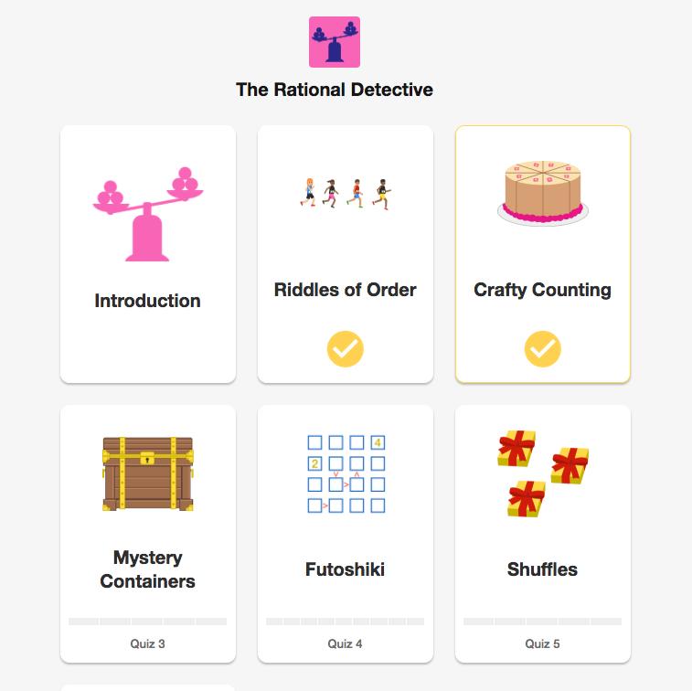 Een overzicht van enkele puzzelmodules in de cursus 'logica'.
