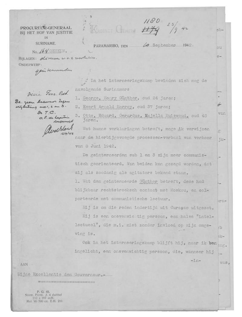 Document uit het Geheim Archief van de Gouverneur van Suriname. Foto: Nationaal Archief Den Haag