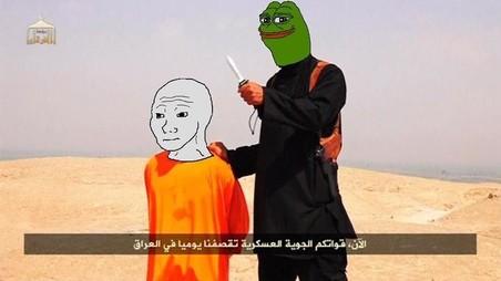Pepe staat op het punt de keel door te snijden van Feels Guy. Uiteraard is deze meme een verwijzing naar de propaganda van IS.