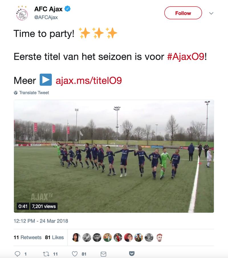 De tweet van Ajax.