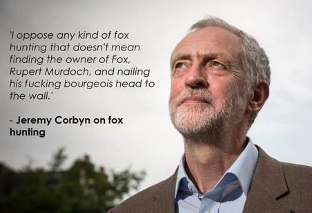 Sassy Socialist Memes verwijst hier naar de vossenjacht, waar Labourleider Jeremy Corbyn zich in het verleden tegen heeft uitgesproken. De vossenjacht wordt als een aristocratische hobby gezien.