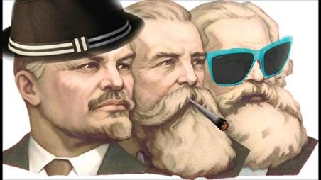 Lenin, Friedrich Engels en Karl Marx in een modern jasje.