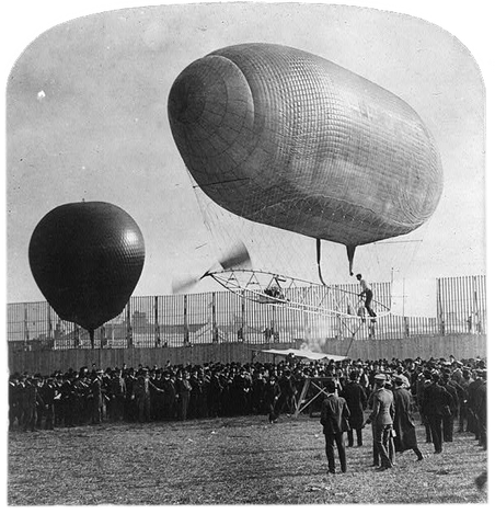"De beroemde ""California Arrow"", het luchtschip dat zijn eerste succesvolle vlucht maakte met vliegenier Knabenshue. Wereldtentoonstelling van 1904 in St. Louis. Foto: Miscellaneous Items in High Demand, PPOC, Library of Congress"