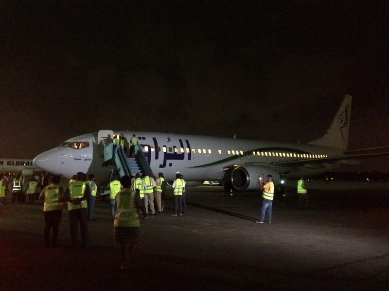 Aankomst van de vlucht bij de Hajj Cargo Terminal in Lagos, Nigeria.