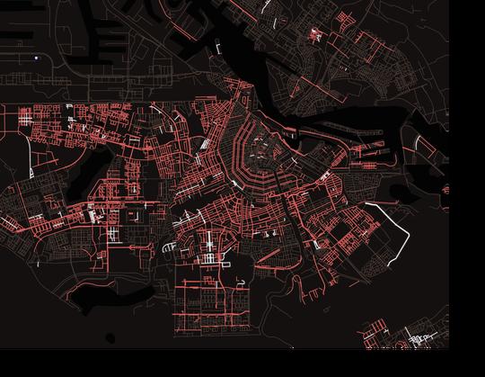 Kaart van Amsterdam. De rode lijnen zijn straten die vernoemd zijn naar een man, de witte lijnen naar een vrouw.
